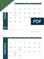 2017 Monthly Calendar 18l