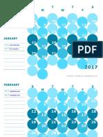 2017 Monthly Calendar Colorful Kindergarten 30