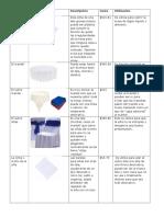 Catálogo de Mobiliario y Manteleria