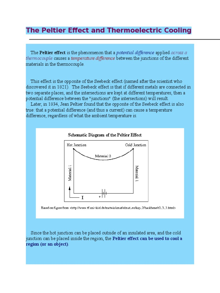 The Peltier Effect and Thermoelectric Cooling | Physical Quantities