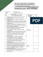 Checklist Audit Mutu Internal