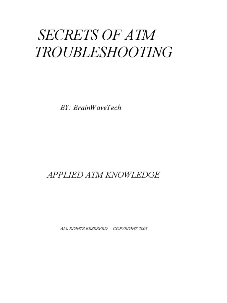 Secrets Of ATM Troubleshooting Book Automated Teller Machine - Diebold atm alarm wiring diagram