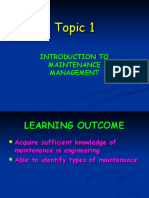 Introduction to Maintenance Management