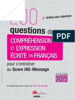 200 Questions de Comprehension Et Expressione Crite en Francais
