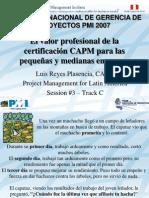 Valor CAPM PMI Peru Congreso 2007