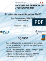 Valor PMP PMI Peru Congreso 2007
