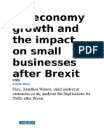 UK Economy Growth and the Impact on Small Businesses After Brexit