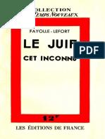 Fayolle-Lefort - Le Juif Cet Inconnu