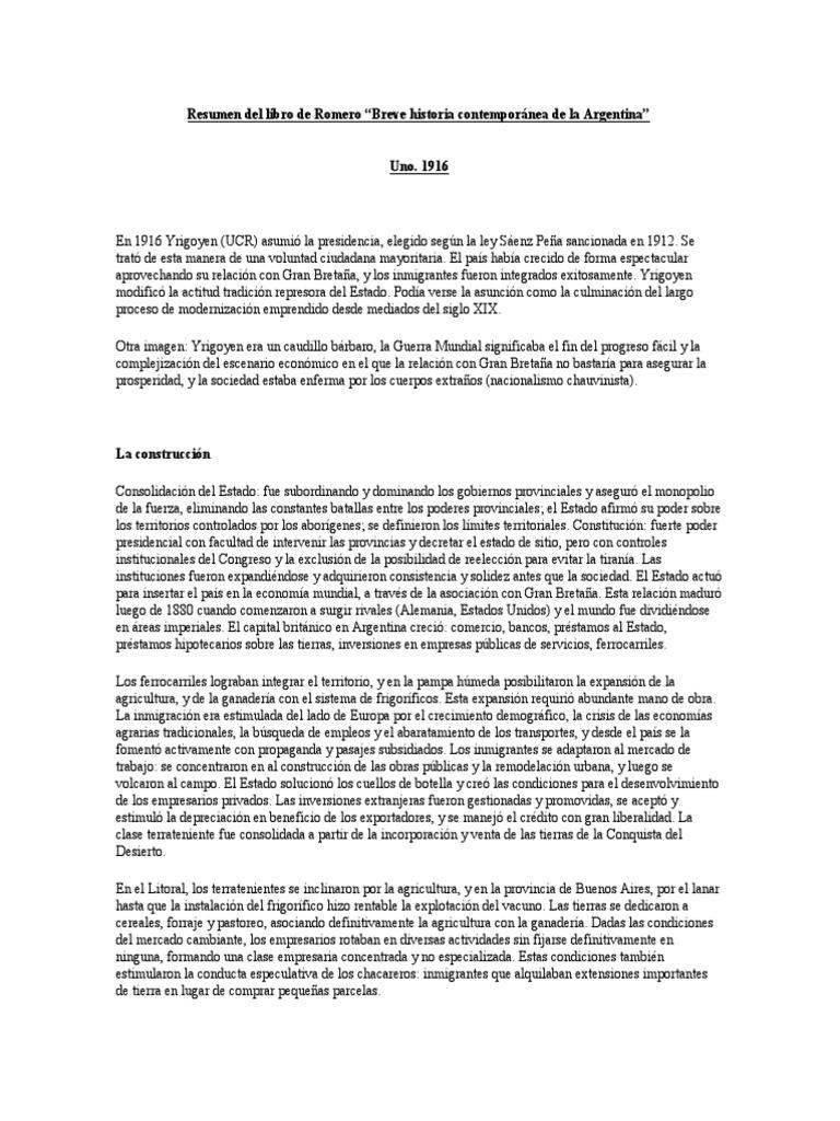 Resumen de Breve Historia Contemporánea de La Argentina de Romero .Docx