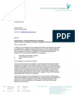 Suzi Burge v Commonwealth Bank; Letter by Email to Fred Lester at Clarke & Gee