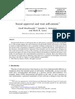 Aprobarea Sociala Si Stima de Sine