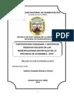 PARTICIPACIÓN CIUDADANA Y GESTIÓN DE RESIDUOS SÓLIDOS EN LAS MUNICIPALIDADES DISTRITALES DE LA PROVINCIA DE ACOBAMBA - 2016