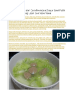 Resep Masakan Dan Cara Membuat Sayur Sawi Putih Kuah Bening
