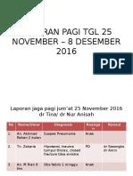 Laporan Pagi Tgl 25 November – 8 Desember