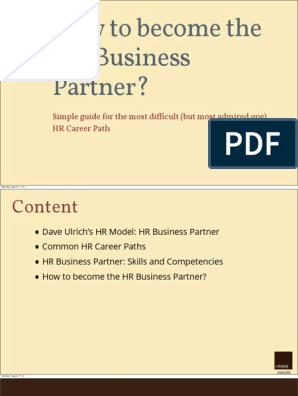 How to Become the Hr Business Partner-chrm | Human Resource