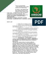 AMISOM Force Commander, Somali Dep. CDF Visit Adaado in the Wake of Political Disturbances in Galmudug