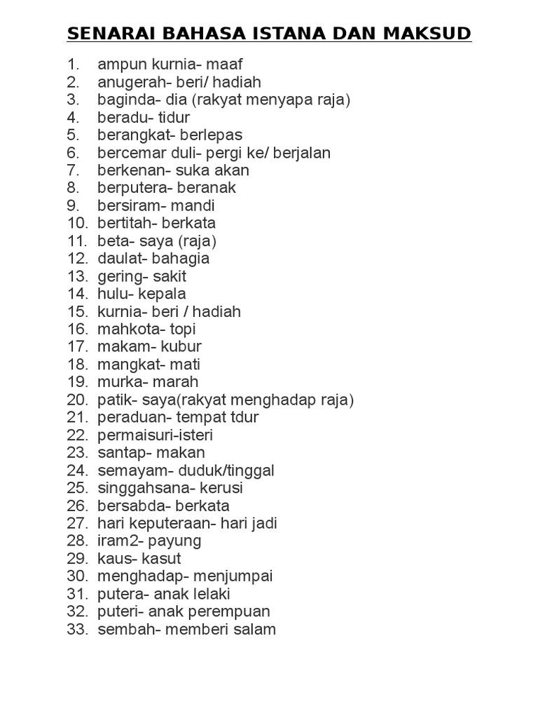 Senarai Bahasa Istana Dan Maksud Docx