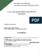 Practici de Guvernanţă Corporativă În Romania