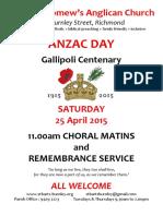 ANZAC Day Matins Service Flyer