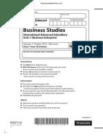 October 2016 (IAL) QP - Unit 1 Edexcel Business Studies