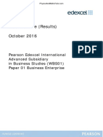 October 2016 (IAL) MS - Unit 1 Edexcel Business Studies