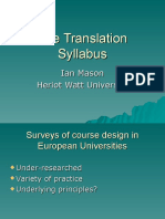 Translation Syllabus Ian Mason
