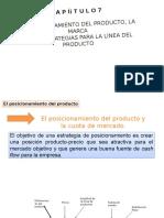 EL POSICIONAMIENTO DEL PRODUCTO,  PARA LA LÍNEA DEL PRODUCTO