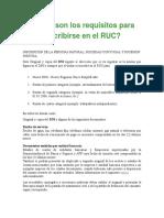 Cuáles Son Los Requisitos Para Inscribirse en El RUC