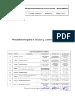 PG-SSO-03 Proc Analisis Control de Riesgos
