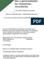 Propiedades y generalidades de las respuestas inmunitarias