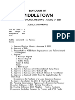 Agenda for Jan. 17 meeting of Middletown Borough Council