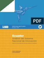 CTI MON Ecuador Análisis Del Sistema Nacional de Innovación