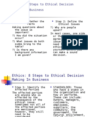 3- 8 Steps to Making an Ethical Decision | Business | Social