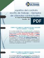 Presentación - Requisitos Contrato de Trabajo - Ejemplos