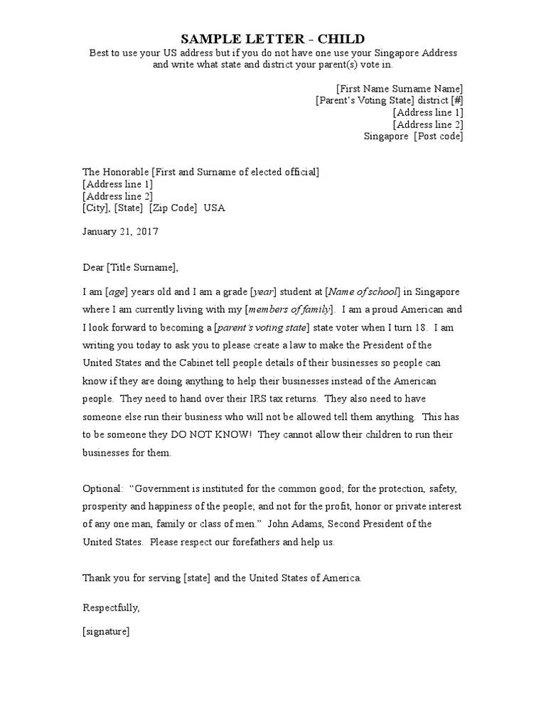 Letter Format Child