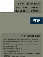 Pemulihan Dari Ketidaknyamanan Umum Pada Masa Puerperium