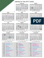Calendar 2017 India