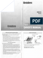 Uniden SSE33 With Pendant Operating Manual