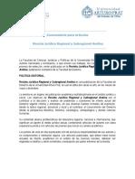 Convocatoria Para Artículos Revista Corpus Iuris Regionis 2015