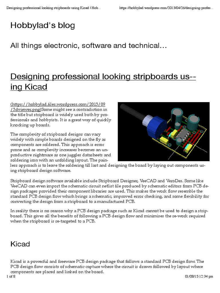 Designing Professional Looking Stripboards Using Kicad Hobbylads Pcb Design Schematic Blog Printed Circuit Board Electronic Circuits