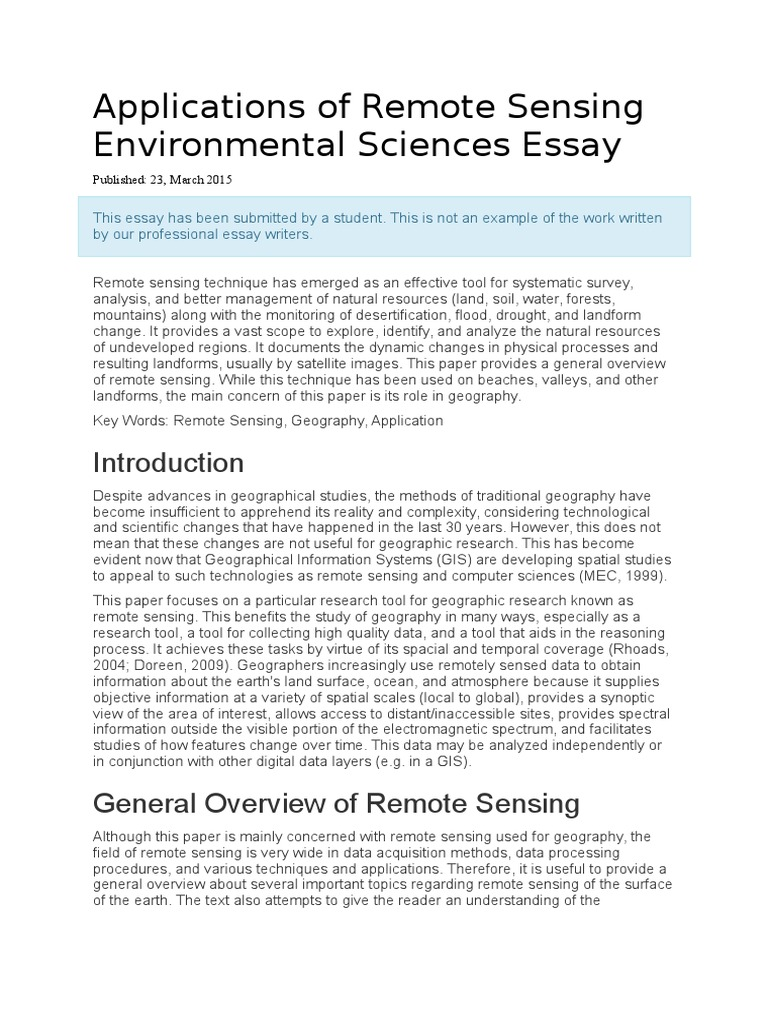 applications of remote sensing environmental sciences essaydocx  applications of remote sensing environmental sciences essaydocx  remote  sensing  geographic information system