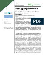 Simple UV Spectrophotometric Assay of Amlodipine