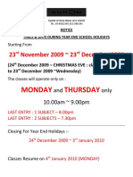 2009 Year End Holiday Notice on Centre