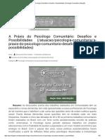 A Práxis Do Psicólogo Comunitário_ Desafios e Possibilidades _ Psicologia Comunitária _ Atuação