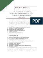 Curriculum Cabrera Calizaya Auxiliar de Almacen Huacho