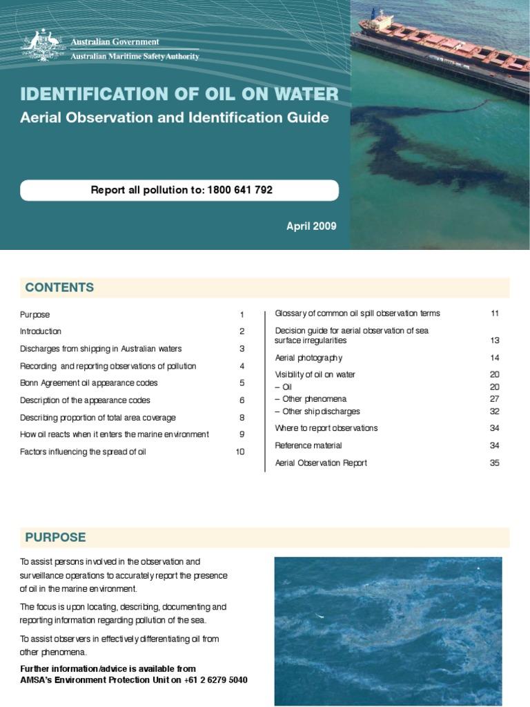 Amsa Identification Of Oil On Waterpdf Oil Spill Color