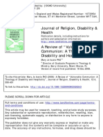 """A Review of """"Vulnerable Communion- A Theology of Disability and Hospitality"""""""