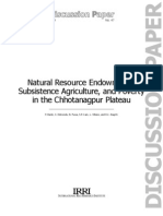 Natural Resource Endowment, Subsidtence Agriculture, And Poverty in the Chhotanagpur Plateau