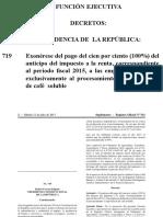 Funcion Ejecutiva Decreto 719 Exoneracion de Cafe