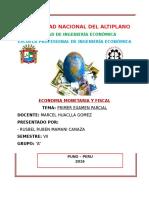 Universidad Nacional Del Altiplano. Examen de Monetaria